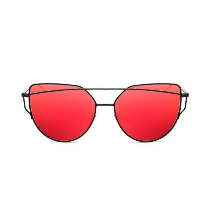 red sunglasses with black double frames front view edgability