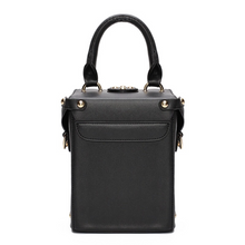 black box bag with buckle egdability back view
