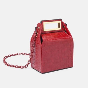 box bag snakeskin bag red bag bucket bag edgability full view