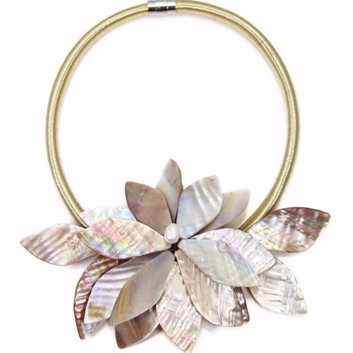 beige gold statement neckpiece with exotic floral design front view edgability