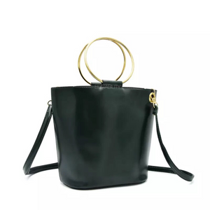 black bag bucket bag with ring handle edgability