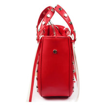 open red bucket bag silver studs side view edgability