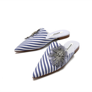 striped blue mules crystal flower edgability