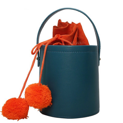 pom pom teal bucket bag edgability