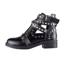 studded black ankle boots with buckles edgability side view