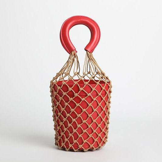 bucket bag basket drawstring bag red bag edgability