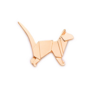 gold metal origami cat brooch front view edgability