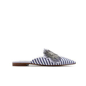striped blue mules crystal flower side view edgability