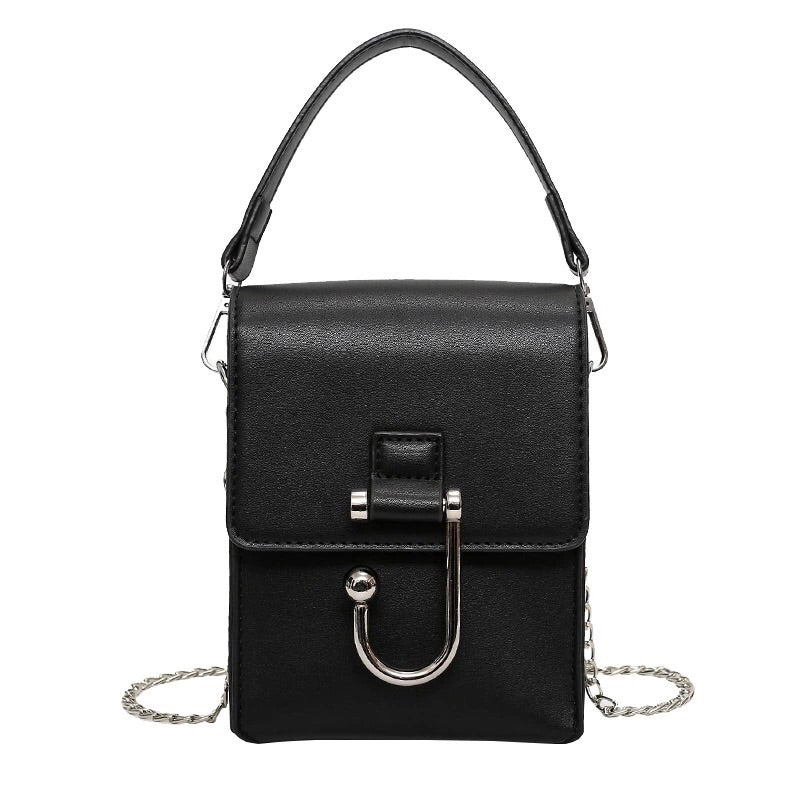 black sling bag silver hook edgability