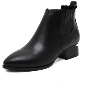 black booties with cut heel edgability