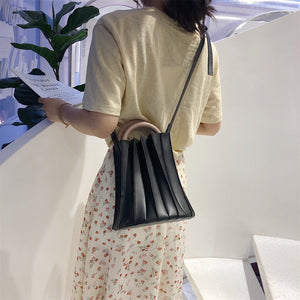 pleated bucket bag black bag edgability full view