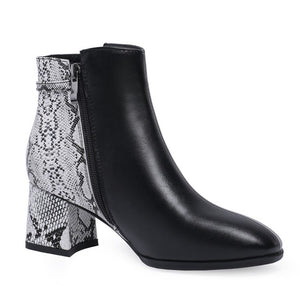 black boots ankle boots snakeskin boots with block heels edgability front view