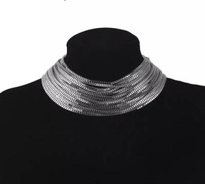 silver necklace statement jewelry edgability front view