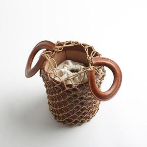 bucket bag basket drawstring bag brown bag edgability open view