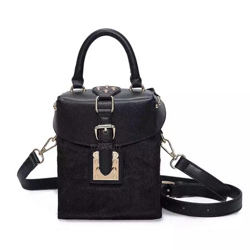 fur box bag in black sling bag edgability