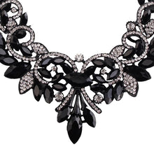 floral statement jewelry black necklace edgability detail view