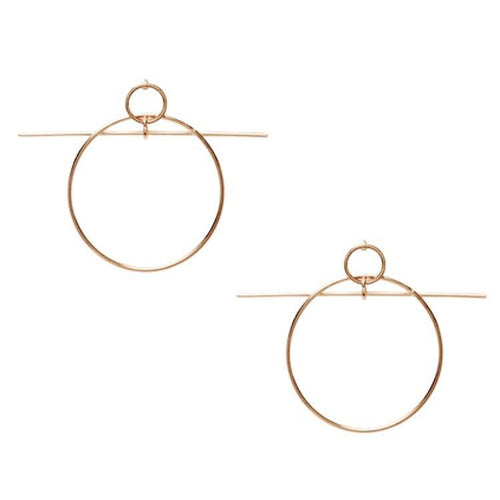 fine gold earrings with circle and line front view