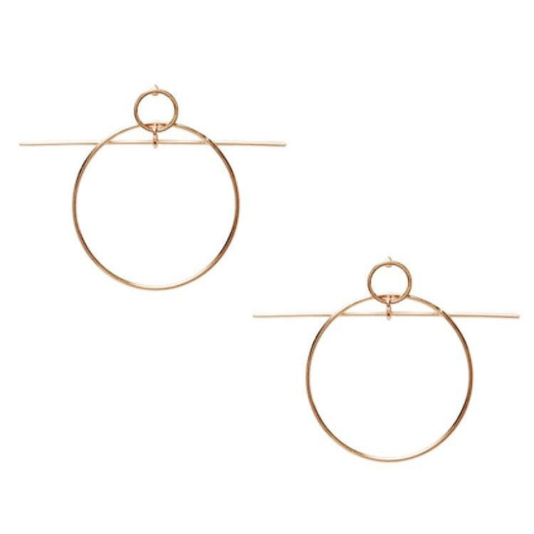 fine gold earrings with circle and line front view edgability