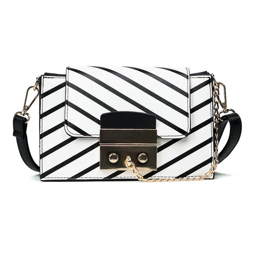 black stripes on white handbag front view edgability