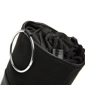 black bag bucket bag sling drawstring bag edgability detail view