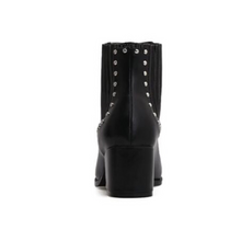 black studded ankle boots with block heel edgability back view