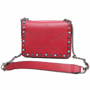 red star studded bag with rivets