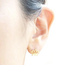 diwali lotus gold earrings model view edgability