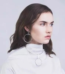silver earrings drop earrings edgability model view