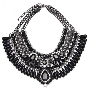 embroidered and stone black statement necklace edgability
