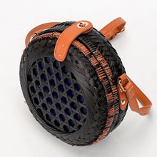 round black rattan bag travel style edgability top view