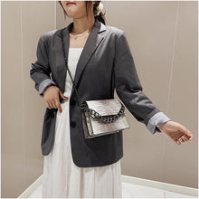 grey ombre snakeskin sling bag with chain edgability model view