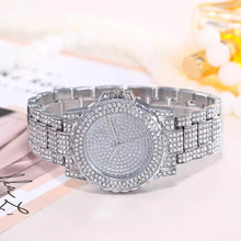 crystal studded diamonte silver watch edgability front view