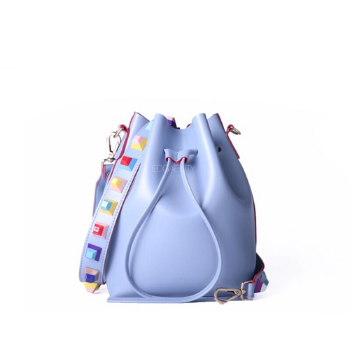 multicoloured studded lavender bucket bag front view edgability
