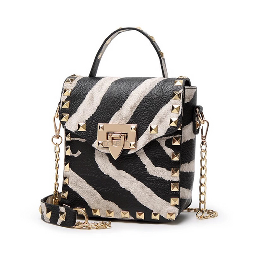 golden studded zebra print mini bag edgability