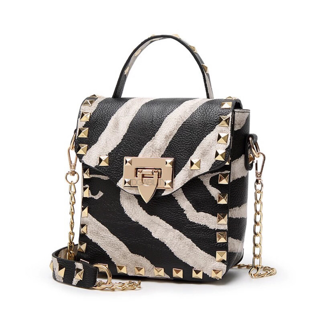 studded bag zebra print party bag edgability