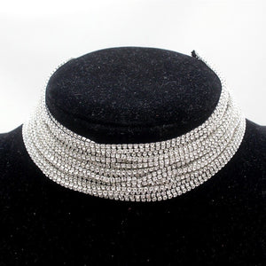 crystal layered statement necklace choker edgability front view