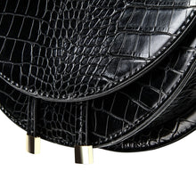 semi circle classy croc skin black bag sling bag edgability detail view