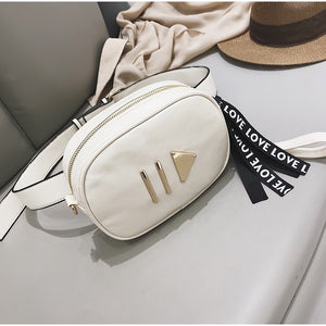 white bag waist bag fanny pack edgability top view