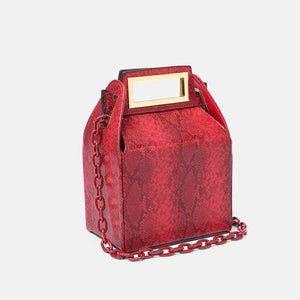box bag snakeskin bag red bag bucket bag edgability