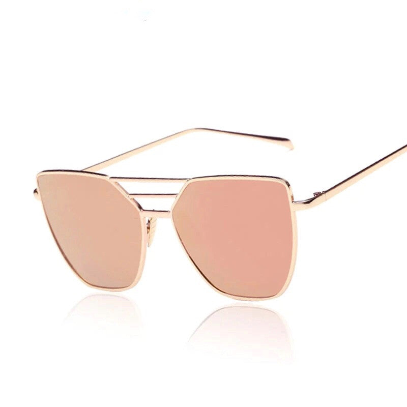 rose gold sunglasses with gold frames angle view edgability