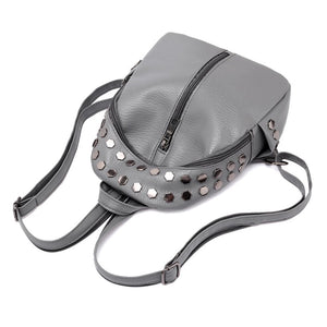 silver studded grey mini backpack edgability top view