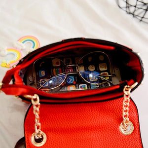 studded bag party bag red bag edgability open view