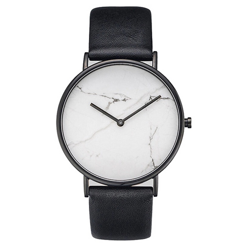 white marble print black strap watch edgability