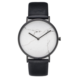 white marble print black strap watch front view edgability