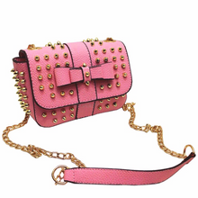 pink gold studded bag edgability angle view