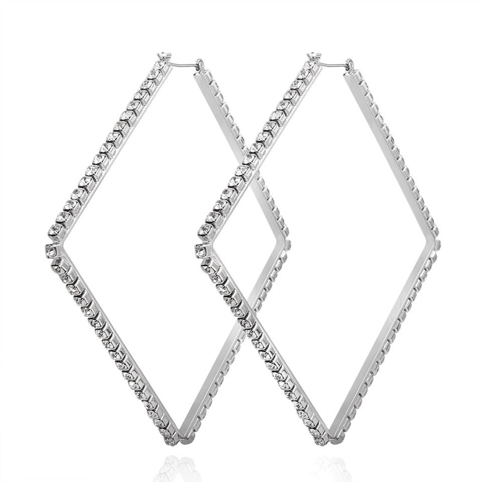 silver crystal hoop earrings statement jewelry edgability side view