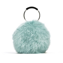 blue fur bag with hoop handles edgability