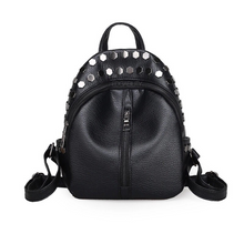 edgability silver studded black mini backpack front view