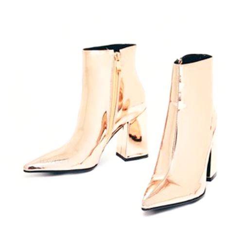 gold booties metallic boots ankle boots edgability
