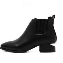 black booties with cut heel edgability side view